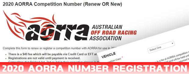 2020 AORRA Competition Number Registration